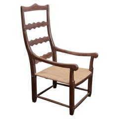 19th Century French Wooden Armchair with Rush Seat