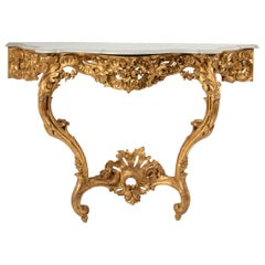 19th Century French Wooden Carved and Gilded Console Table by Maison Janiaud