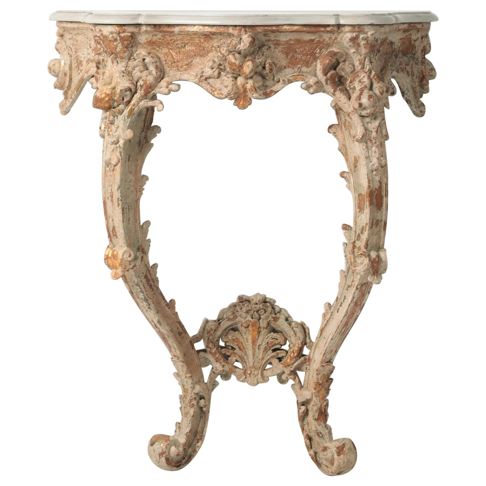 19th Century  French Wooden Carved Console Table