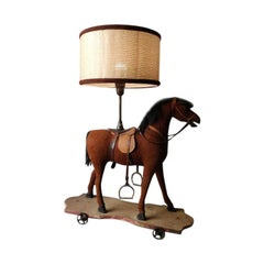 19th Century French Wooden Horse Children's Toy Converted into Table Lamp, 1890s
