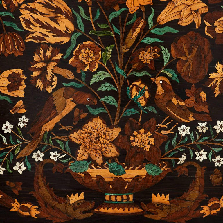 Ebonized 19th Century French Wooden Marquetry Panel of Flowers