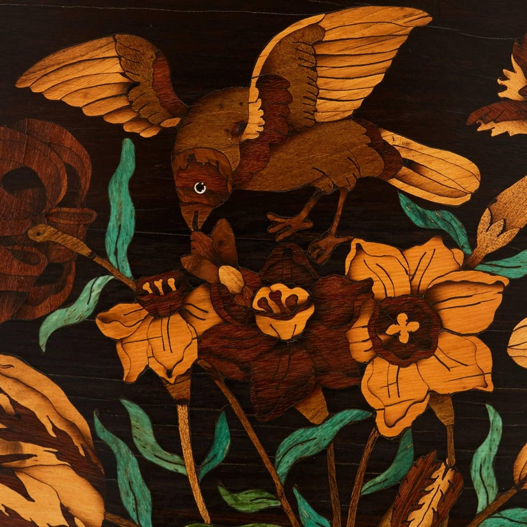19th Century French Wooden Marquetry Panel of Flowers In Excellent Condition In London, GB