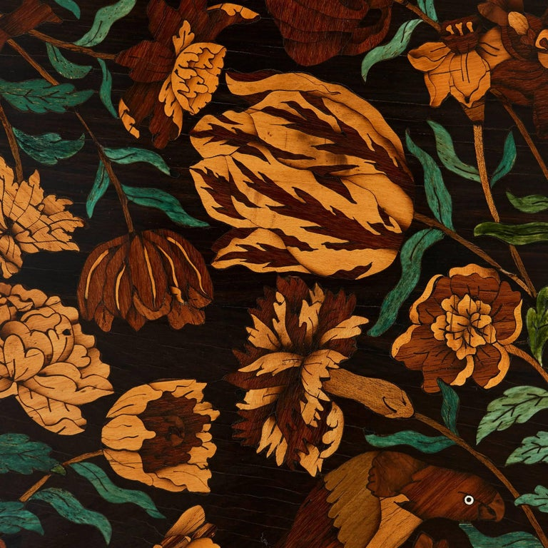 19th Century French Wooden Marquetry Panel of Flowers 1