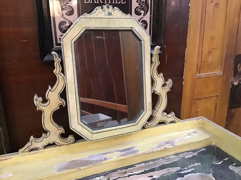 Victorian 19th Century French Wooden Mirrored Vanity with Turned Details, 1890s