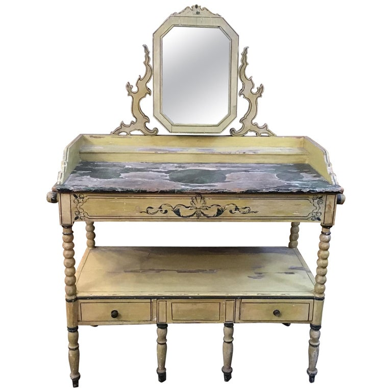 19th Century French Wooden Mirrored Vanity with Turned Details, 1890s