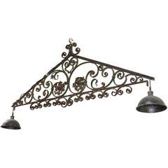 19th Century French Wrought Iron Bar Light