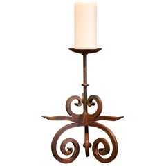 19th Century French Wrought Iron Candlestick with Wax Candle