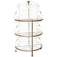 19th Century French Wrought Iron Demilune Baker's Rack