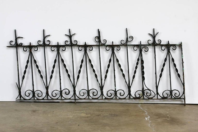 Victorian 19th Century French Wrought Iron Fence Railing Fragment For Sale