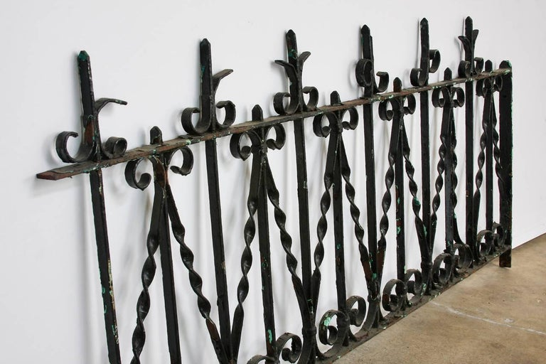 European 19th Century French Wrought Iron Fence Railing Fragment For Sale