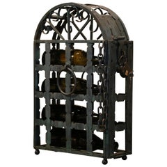19th Century French Wrought Iron Four Bottle Wine Rack with Lock and Keys