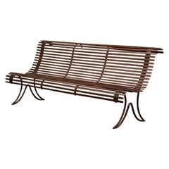 19th Century French Wrought Iron Garden Bench with Ladders from Provence