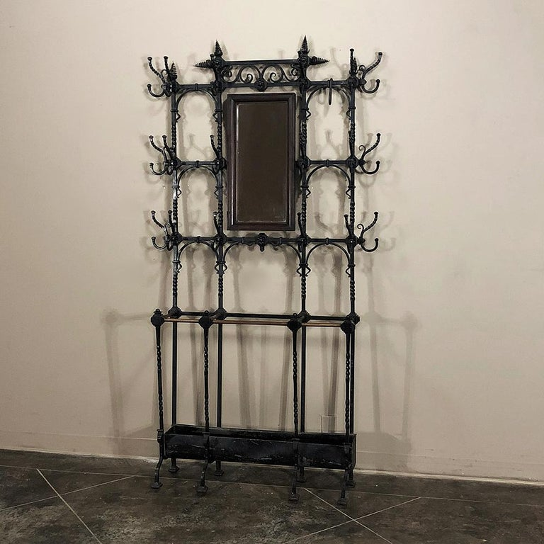 Renaissance Revival 19th Century French Wrought Iron Hall Hand-Forged Tree For Sale