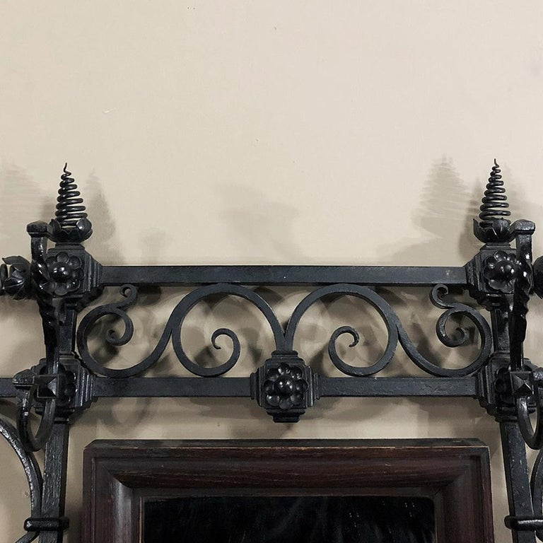 Hand-Crafted 19th Century French Wrought Iron Hall Hand-Forged Tree For Sale