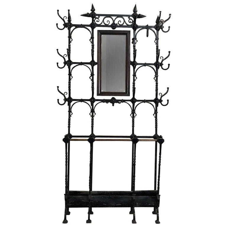 19th Century French Wrought Iron Hall Hand-Forged Tree For Sale