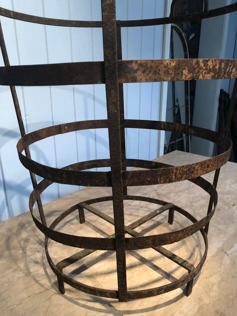 19th Century French Wrought Iron Laundry Basket With