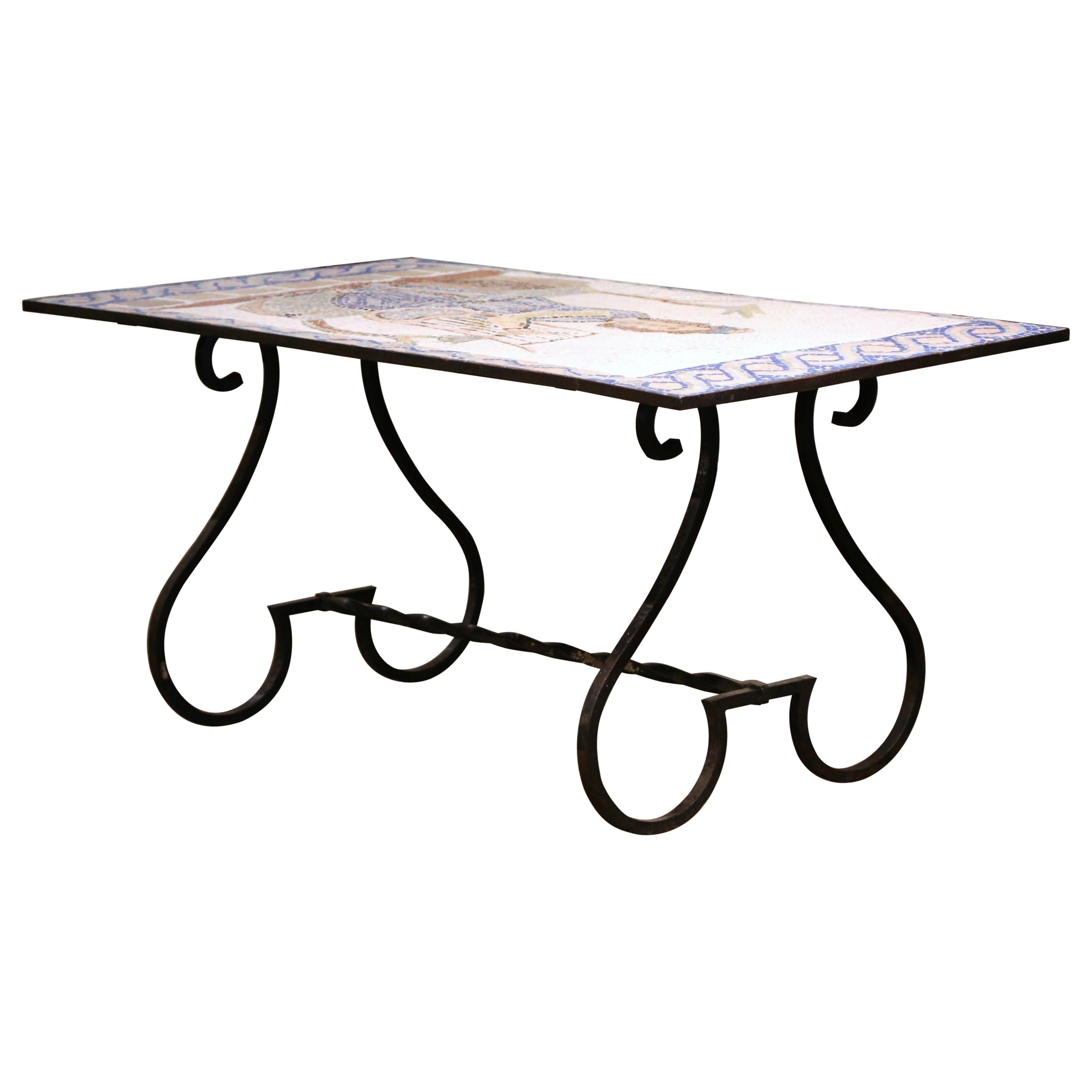 19th Century French Wrought Iron Outdoor Table with Ceramic Mosaic Top