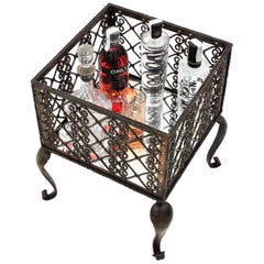 French 19th Century Wrought Iron Scroll Lattice Drinks Stand or Planter