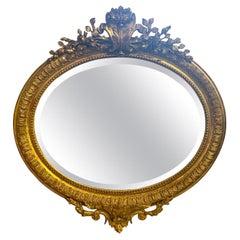 19th Century French XVI Oval Giltwood Mirror