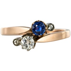 "19th Century French ""You and Me"" Sapphire Diamond 18 Karat Rose Gold Ring"