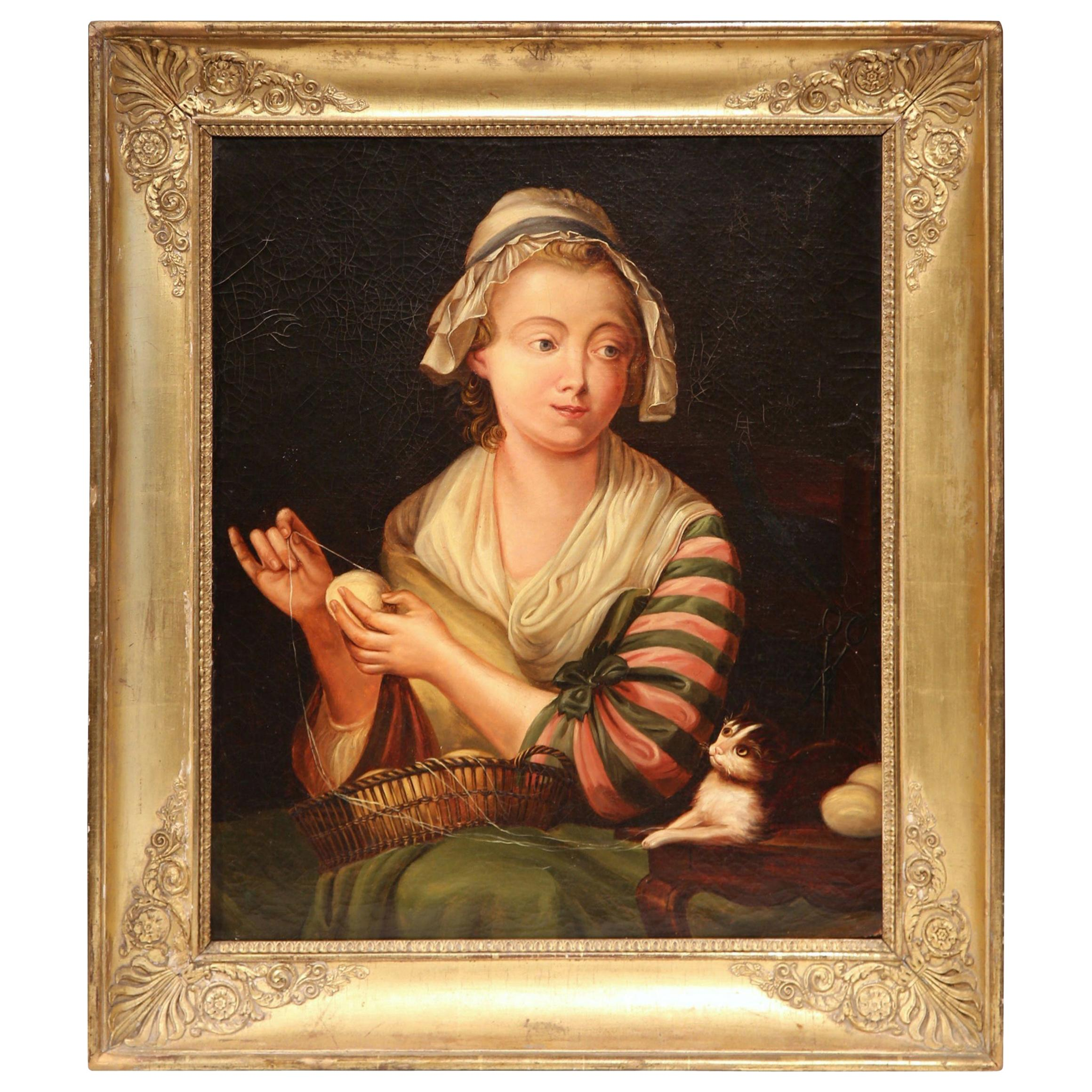 19th Century French Young Beauty Portrait Oil Painting in Carved Gilt Frame