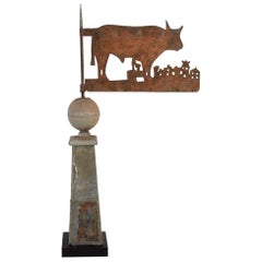 19th Century French Zinc/ Iron Weathervane Roof Finial