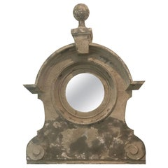 19th Century French Zinc Mirror Oeil de Boeuf
