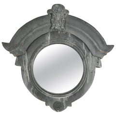 19th Century French Zinc Oeil De Boeuf, Bull's Eye Zinc Dormer Window Mirror
