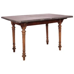 19th Century French Zinc Top Side Table Kitchen Worktable