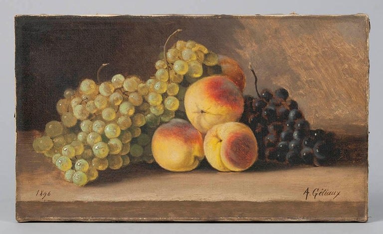 Small and charming painting, fruit still life with peaches and grapes against a dark background.