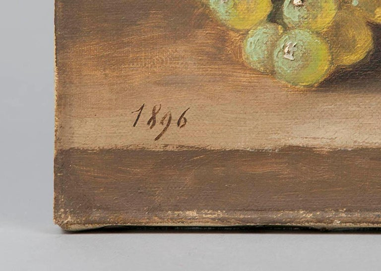 French 19th Century fruit Still-life, oil on canvas by A. Gétiaux, 1896 For Sale