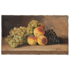 19th Century fruit Still-life, oil on canvas by A. Gétiaux, 1896