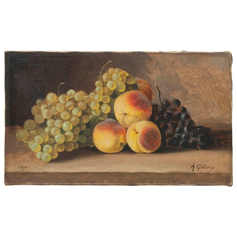 19th Century fruit Still-life, oil on canvas by A. Gétiaux, 1896 For Sale