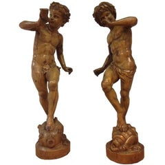 19th Century Large Fruit Wooden Statues of Putti,  140 cm high