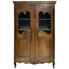 19th Century Fruitwood Armoire with Wire Doors