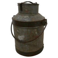 19th Century Galvanised Metal Milk Churn with Iron Strapping