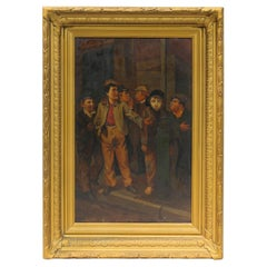 19th Century Gang Smoking Cigars Oil on Board Painting