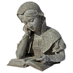 19th Century Garden Sculpture Girl Reading
