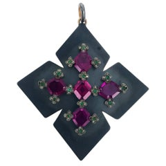 1890s Garnet Emerald Cross Pendant