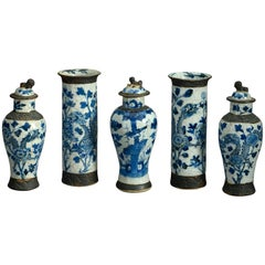 19th Century Garniture of Five Crackle Glazed Vases