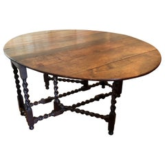 19th Century Gateleg Table with Spiral Turned Legs