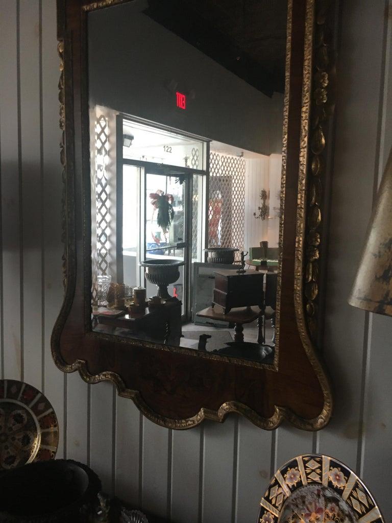 George III 19th Century Geo III Style Mirror, Burled Walnut With Giltwood Decoration For Sale