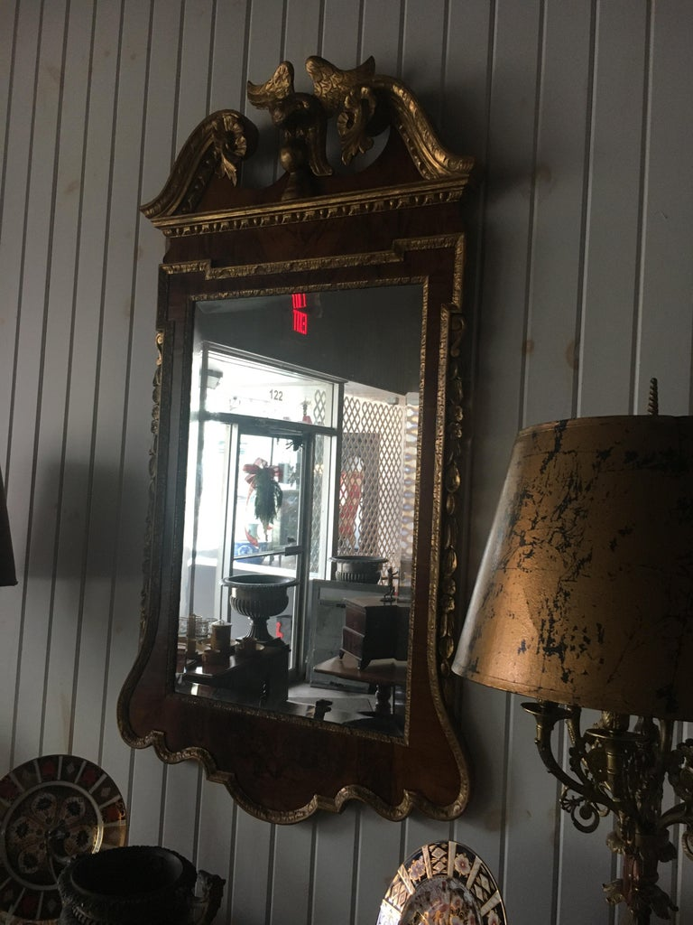 19th Century Geo III Style Mirror, Burled Walnut With Giltwood Decoration In Excellent Condition For Sale In Buchanan, MI
