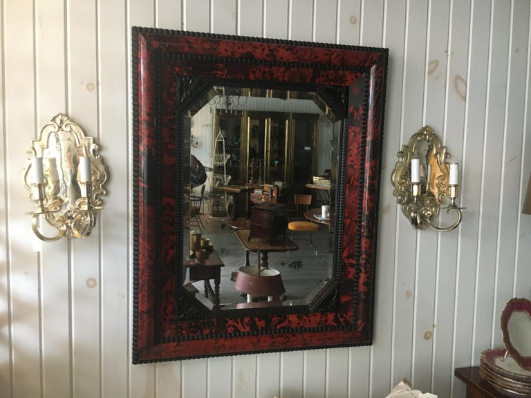 19th Century Geo III Style Mirror, Burled Walnut With Giltwood Decoration For Sale 2