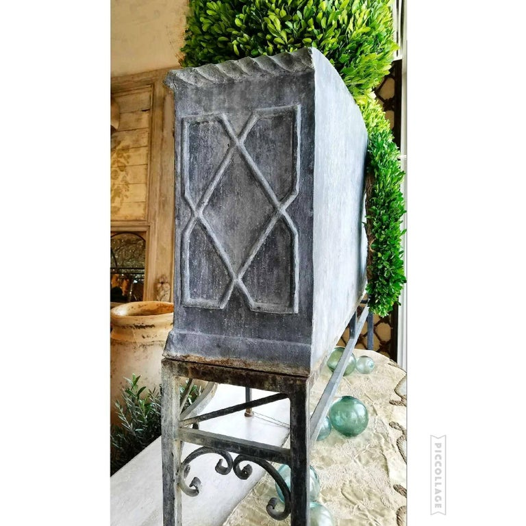 19th Century George 111 Serpentine Lead Planter on Iron Stand For Sale 7