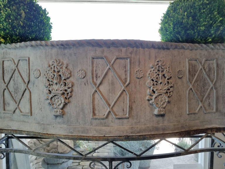 Cast 19th Century George 111 Serpentine Lead Planter on Iron Stand For Sale