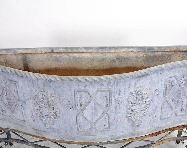 19th Century George 111 Serpentine Lead Planter on Iron Stand For Sale 3