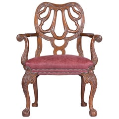 19th Century George II Style English Armchair in the Manner of Giles Grendey