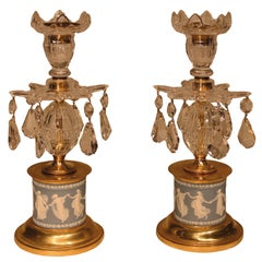 19th Century George III Glass Lustre Candlesticks