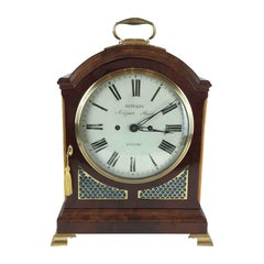 19th Century George III Mahogany Bracket Clock by Metcalfe, London